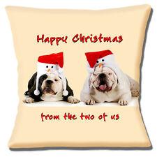 "ENGLISH BULLDOGS SANTA SNOWMAN HATS HAPPY CHRISTMAS 16"" Pillow Cushion Cover"