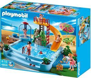 Playmobil Freibad Schwimmbad mit Rutsche 4858 mit Figuren und viel Zubehör