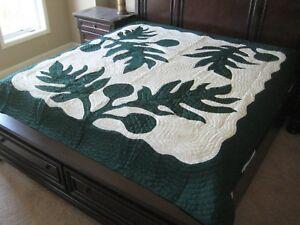Queen Size Hawaiian Quilt Comforter bedspread hand quilted appliqued 100% cotton