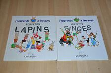 lot 2 livres J'apprends à lire avec les petits Singes, Lapins - Larousse