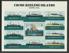 COCOS IS 1984 BARREL MAIL SHIPS SOUVENIR SHEET MNH