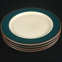 Set of 4 VTG Salad Plates International Parade Bands Of Celebration Green Japan