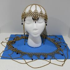 Gold Tone Princess Chainmail Headdress Renaissance Cosplany With Matching Belt
