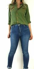 Vintage Jean Paul Gaultier Jeans Shirt Military Green Orange Blouse Top 40 UK 12