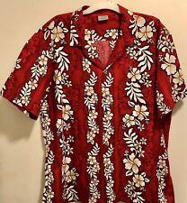 New Jade Fashions Red Hawaiian Hibiscus Floral Aloha Shirt Men's 2XL