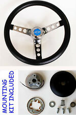 """70-73 C10 C20 C30 Blazer Grant Black Steering Wheel Blue Bowtie cap 13 1/2"""""""