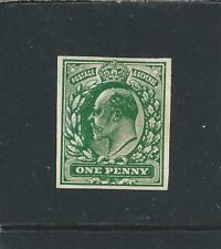 More details for gb-ke7 1902-10 1d bright green plate proof imperf on unwatermarked paper