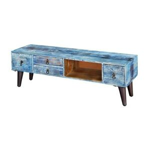 MADE TO ORDER Avalon Indian Solid Wood 4-Drawer Open Storage Tv Media Console