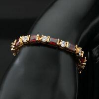 "7Ct Emerald Cut Garnet & Diamond 7""Tennis Bracelet 14k Yellow Gold Finish"