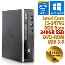 PC MINI COMPUTER DESKTOP RICONDIZIONATO HP QUAD CORE i5-3470S RAM 8GB SSD 240GB