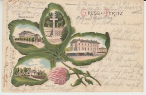 Ansichtskarte  Pommern  Gruss aus Pyritz  1901  Gasanstalt Seminar Bahnhof etc.