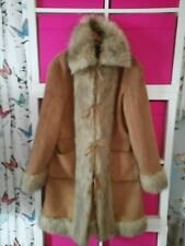 Size 16 tan faux suede / fur lined afghan style coat