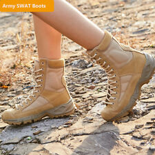 Mens Leather Hiking Tactical Boot Outdoor Shoes Military Combat Army SWAT Boots