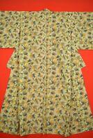 Vintage Japanese Wool Antique BORO KIMONO Kusakizome Woven Textile/YC94/760