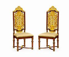 2 Jacobean Walnut & Gold Leaf High Back Dining, Living room,Hall Chiars New