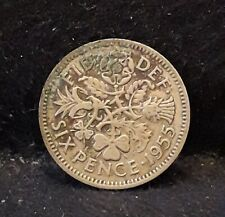 1955 Great Britain 6 pence, Elizabeth II, lucky wedding gift, KM-903        /N59