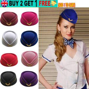 Women`s Flight Attendant Cap Air Stewardess Hat for Cosplay Musical Performance
