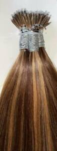 MONGOLIAN DOUBLE DRAWN 16'' NANO TIP 1G HIGHLIGHTED #2/12 HUMAN HAIR EXTENSIONS
