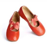 new girls PePe Coral Big Bow Ballet Flats shoes leather made in Italy 22 6-6.5