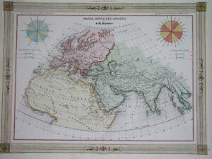 1848 NICE ORIGINAL MAP ANCIENT WORLD ASIA EUROPE AFRICA ARABIA INDIA THAILAND