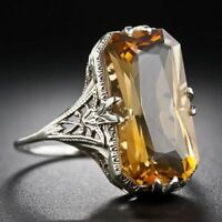 Natural Citrine Women 925 Silver Ring Jewelry Engagement Sz5-11