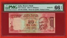 { RARE } RS. 20 { SUPER DUPER FANCY } PMG 66 EPQ GEM UNC 2013-14 INDIA GANDHI