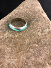 Native American Zuni Sterling Silver Turquoise Inlay Ring Size 7 Old Pawn