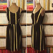 PRADA 100% silk brown yellow stripe dress IT 44 UK 12 US 8