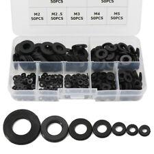 350Pcs 7 Sizes Black Nylon Flat Washer Assortment Kit M2 M2.5 M3 M4 M5 M6 M8 US
