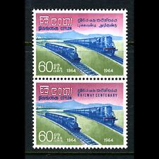 Ceylon 1964 Chemins de fer. vertical Paire. SG 503-504. MLH/neuf sans charnière. (BH342)