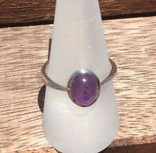 GENUINE AMETHYST OVAL CABOCHON RING 925 STERLING SILVER BEZEL SET SIZE P NEW
