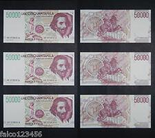 RIPRODUZIONI 50.000 LIRE BERNINI II - 3 BANCONOTE CONSECUTIVE 50000 LIRA FDS UNC