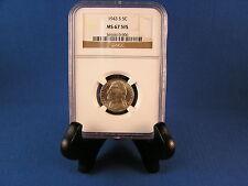 1943 S  MS 67 - 5 FS Jefferson  Nickel  Graded by  N.G.C.