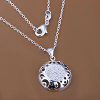 925 Sterling Silver Filled Hollow Moon Crystal Pendant Necklace Antique Style