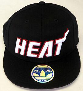 NBA Miami Heat Adidas 210 Fitted Flat Brim Flex Cap Hat NEW!