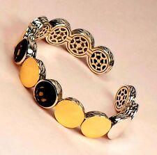 895 John Hardy 44g Dot 18k Gold Smoky Quartz 925 Cuff Bracelet Bangle
