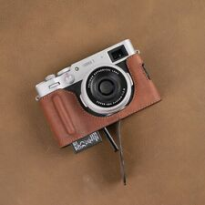 VR Handmade Genuine Leather Camera Half Case for Fuji Fujifilm X100V Brown