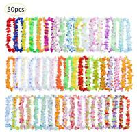 50pcs Hawaiian Leis Necklace Tropical Luau Hawaii Silk Flower Wreath Party Decor