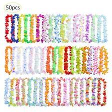 50pcs Hawaiian Leis Necklace Tropical Luau Hawaii Silk Flower Wreath Party Decor