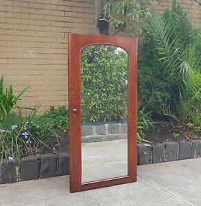 Large Antique Freestanding Mirror, Mahogany, Originally off an 1880's Wardrobe