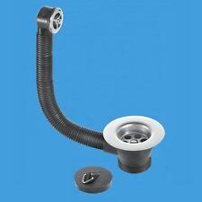McAlpine 1-1/2'' Steel Kitchen Sink Waste Chrome Round Overflow Plug & Chain