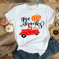 Women Casual Style Pumpkin Truck Print T-Shirt Short Sleeve Fall Tops Tee