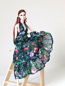 Ethnic black flowered printed sundress for Nu face by Olgaomi