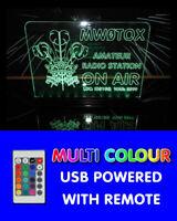 WELSH FEATHERS USB MULTI COLOUR RGB LED SHACK SIGN HAM AMATEUR RADIO CALL SIGN