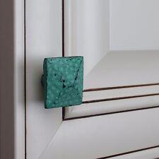 "260707 - 1-1/2"" Distressed Square Pyramid Turquoise Cabinet Knob"