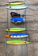 Lot of 7 Large Antique Folk Art Hand Made / hand Painted LEAD Fishing Lures 11oz