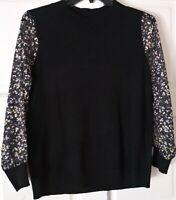 Women's Black Sweater Blouse Floral Chiffon Sleeve Free Shipping SIZE L