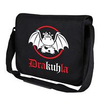 Drakuhla Dracula Kuh Cow Fun Schwarz Motiv Comedy Umhängetasche Messenger Bag