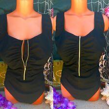 Pin Up Zipper Ruche Slimming Tummy Minimizer One Piece D DD Swimsuit 18 2X XXL