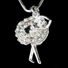 w Swarovski Crystal ~BALLERINA Ballet Dancer Charm Pendant Necklace Jewelry Xmas